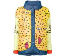 reversible printed denim puffer jacket