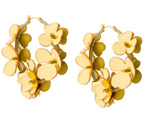flower embellished hoop earrings