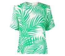 Kreppbluse mit Palmblatt-Print
