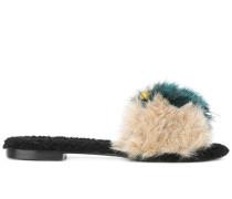 Slip-On-Sandalen mit Kunstpelzbesatz