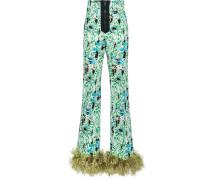 printed stretch denim trousers