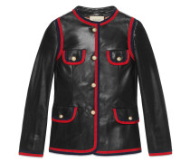 Leather jacket with ribbon trim