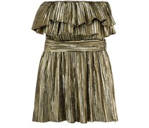 metallic ruffle cocktail dress