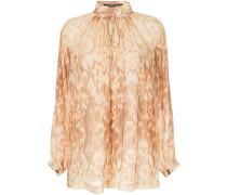 Ikat printed mock neck blouse