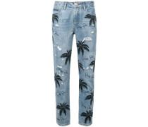 Jeans mit Palmen-Print