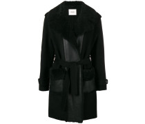 shearling collar belted coat