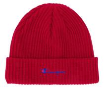 Gerippte Mütze mit aufgesticktem Logo