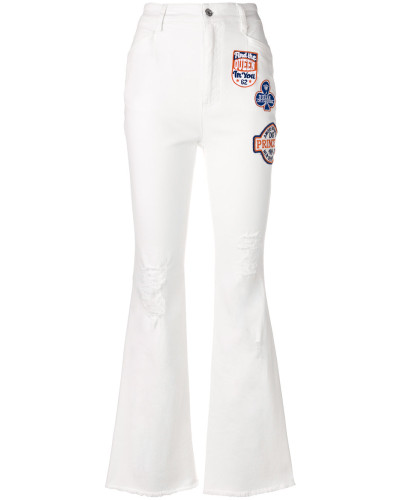applique patch flared jeans