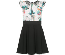 tropical-print flared mini dress