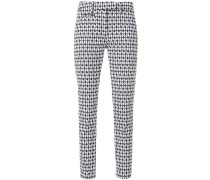 print slim fit cropped trousers
