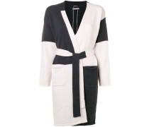 colour block belted cardigan
