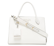 white monogram leather tote