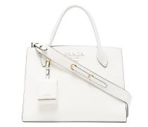 white monogram leather tote