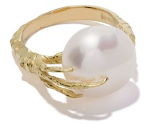18kt 'Claw' Goldring mit Perle