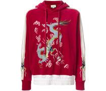 dragon appliqué velvet hoodie