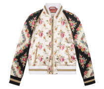 Rose print silk bomber jacket