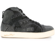patchwork high top sneakers