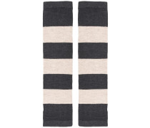 striped finger-less gloves