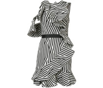Gestreiftes Kleid mit gerüschten Details