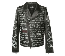 Bikerjacke mit Text-Prints