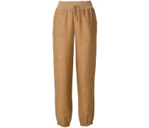 drawstring gathered hem trousers