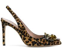 Verzierte Pumps mit Leoparden-Print