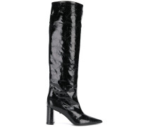 varnished knee-length boots
