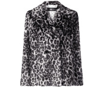 animal pattern double-breasted coat