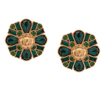 clip-on embellished floral earrings
