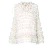 Texturierter Pullover mit V-Ausschnitt