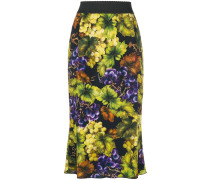paneled printed fitted skirt