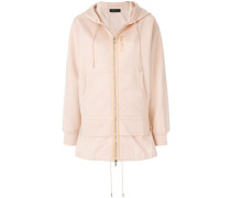 longline layered look zip-front hoodie