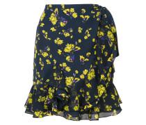 floral printed ruffled wrap skirt