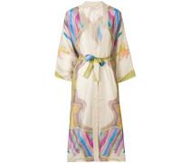 printed belted waist kimono coat