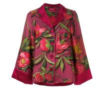 Seidenpyjamahemd mit floralem Print