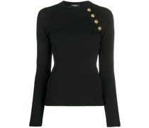 quilted button-embellished knitted top