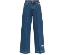 Cropped-Jeans mit Logo