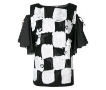 off-shoulder square print blouse