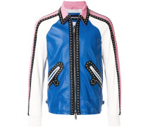 Lederjacke in Colour-Block-Optik