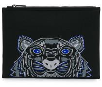 tiger pattern clutch bag