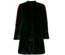 side stripe detail fur coat