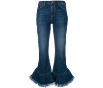 Jeans mit ausgefranstem Rüschensaum