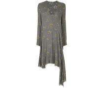 frayed hem floral mid dress
