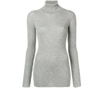ribbed knit roll neck sweater