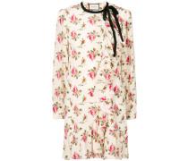 floral print frill trim dress
