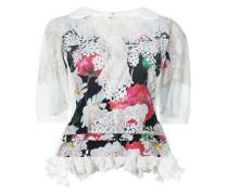 floral print ruffle hem blouse