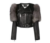 fur trim biker jacket