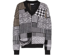 Patchwork-Pullover mit Hahnentrittmuster