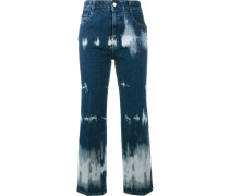 Cropped-Jeans mit Batikmuster
