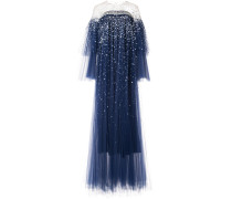 off shoulder tulle gown